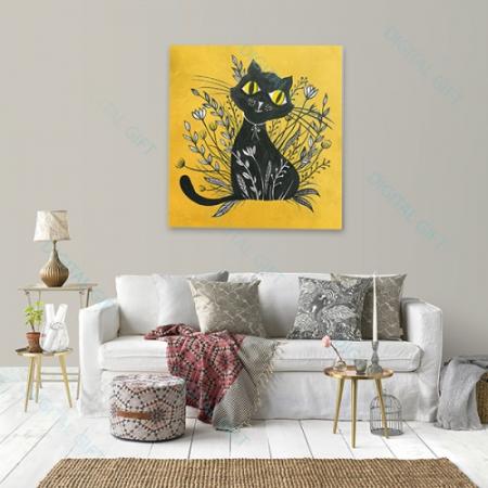 Tablou simplu - Pisica neagră 021