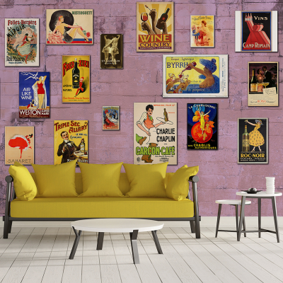 Tapet - Afișe vintage pe violet0