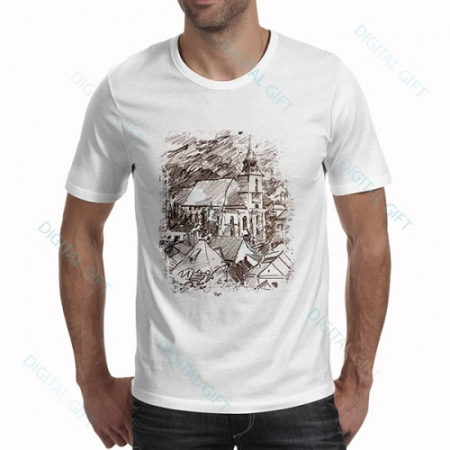 Tricou bărbați - Biserica Neagră în creion0