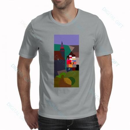 Tricou bărbați - Biserica Neagră, pictură abstractă0
