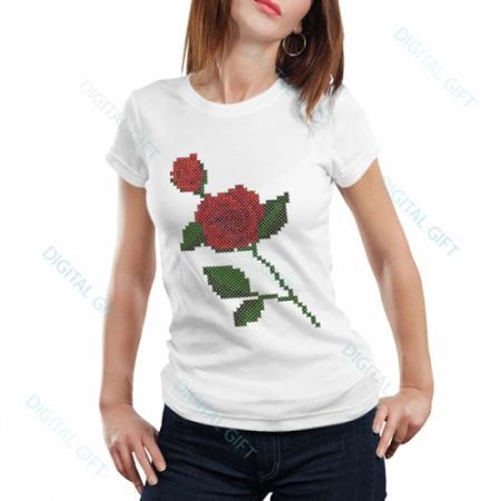 Tricou dame - Trandafir cusut0