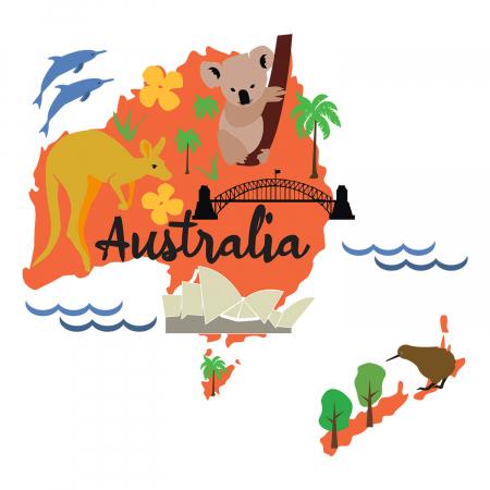 Tricou unisex pentru copii - Australia Cartoon [1]