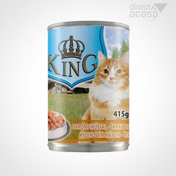 KING CONSERVA PENTRU PISICI CU CARNE DE  PASARE 415G 0