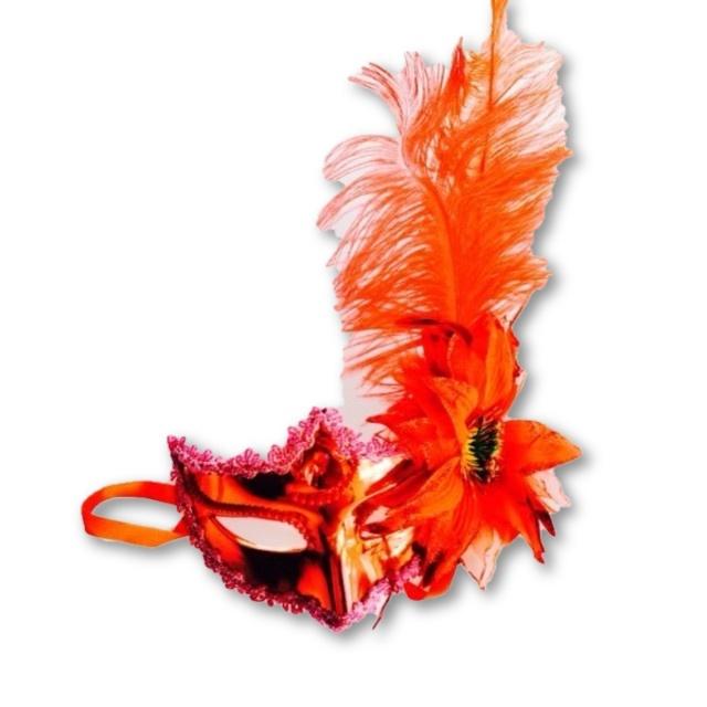 Masca Venetia alba /rosie cu floare 0