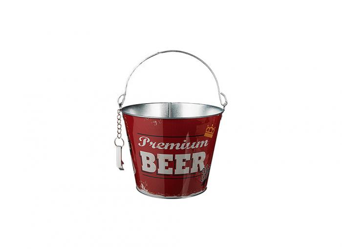Galeata din metal pentru sticle de bere, cu deschizator