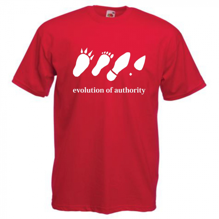 "Tricou imprimat ""Evolution of authority"" 0"