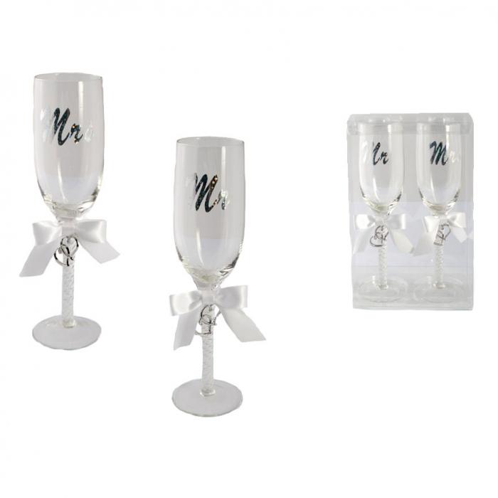 Set sampanie sticla Mr & Mrs 0