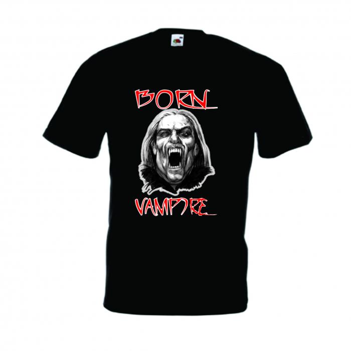 """Tricou imprimat """"Born vampire"""" 0"""