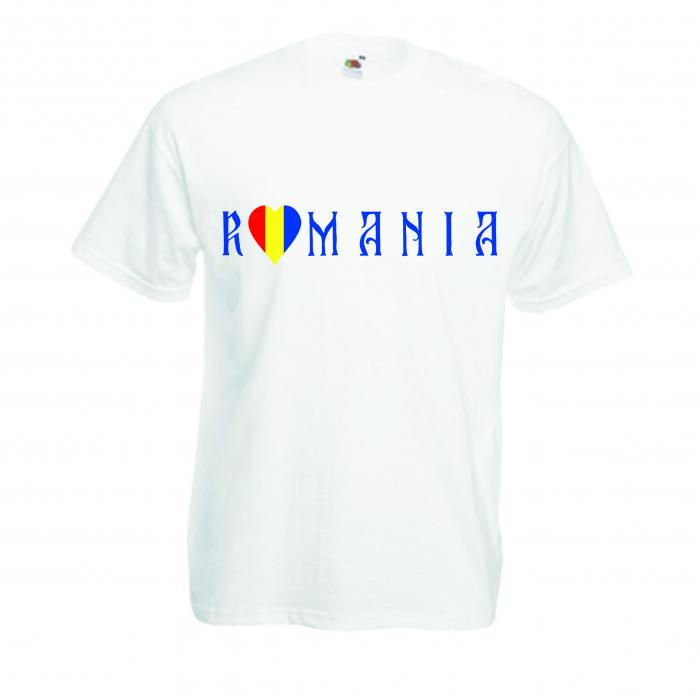 "Tricou imprimat ""I love Romania"" inima 0"