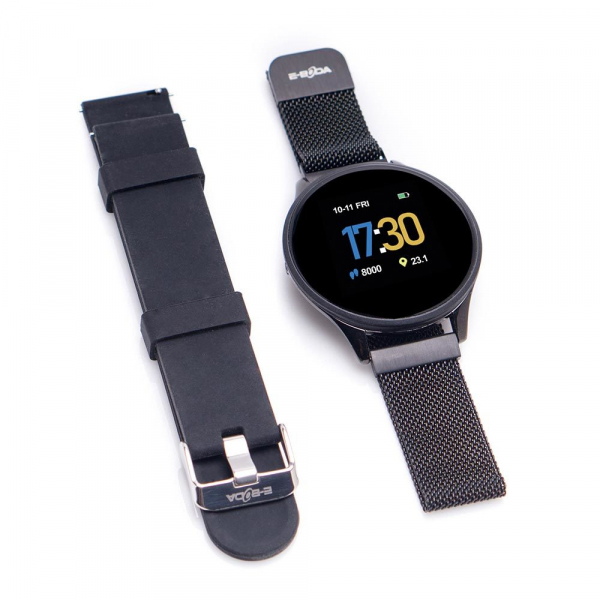 Smartwatch E-BODA, Android/iOS, silicon, negru 4