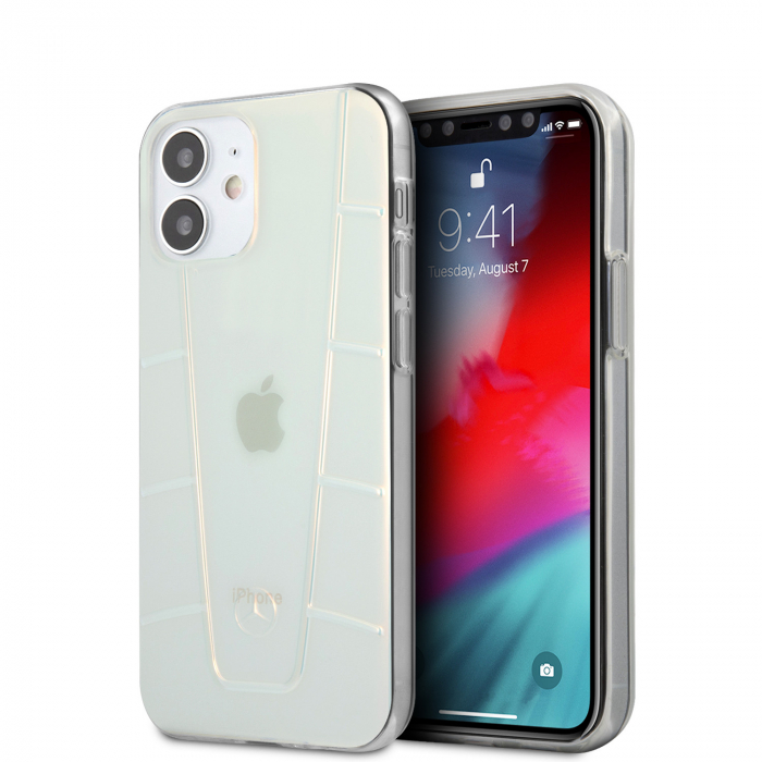 Husa Cover Mercedes Line Iridescent pentru iPhone 12 Mini Clear 0