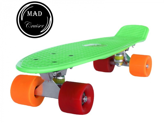 Pennyboard Original, design modern, roti colorate diferit, ABEC 7, placa din PP,Verde 0