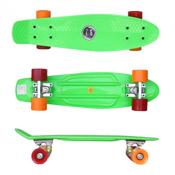 Pennyboard Original, design modern, roti colorate diferit, ABEC 7, placa din PP,Verde 2
