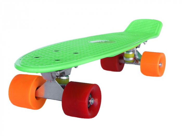 Pennyboard Original, design modern, roti colorate diferit, ABEC 7, placa din PP,Verde 1