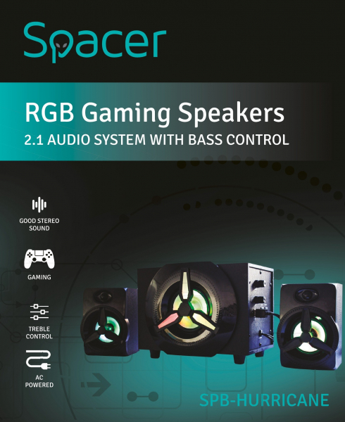 Boxe Gaming Spacer 2.1, RMS 16W (2x3W + 10W), 4xLED 4