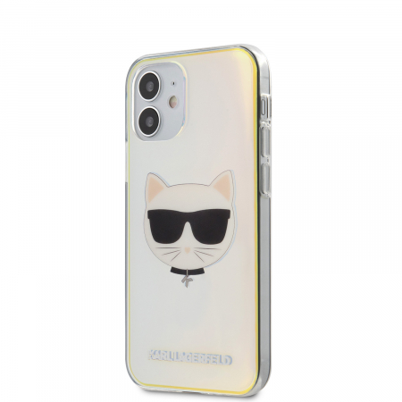 Husa Cover Karl Lagerfeld TPU Choupette Head Iridescente pentru iPhone 12 Mini Clear1