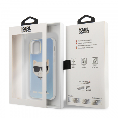 Husa Cover Karl Lagerfeld TPU Choupette Head Iridescente pentru iPhone 12 Mini Clear3