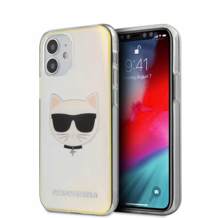 Husa Cover Karl Lagerfeld TPU Choupette Head Iridescente pentru iPhone 12 Mini Clear0