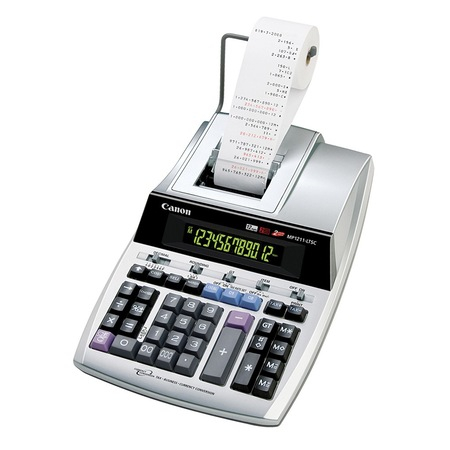 Calculator de birou CANON, MP-1211LTSC, ecran 12 digiti, alimentare baterie, display LCD, functie business, tax si conversie moneda, alb1