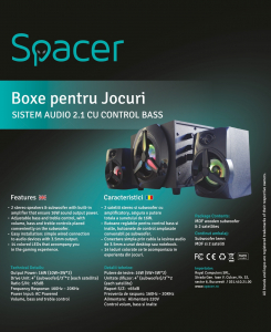 Boxe Gaming Spacer 2.1, RMS 16W (2x3W + 10W), 4xLED5