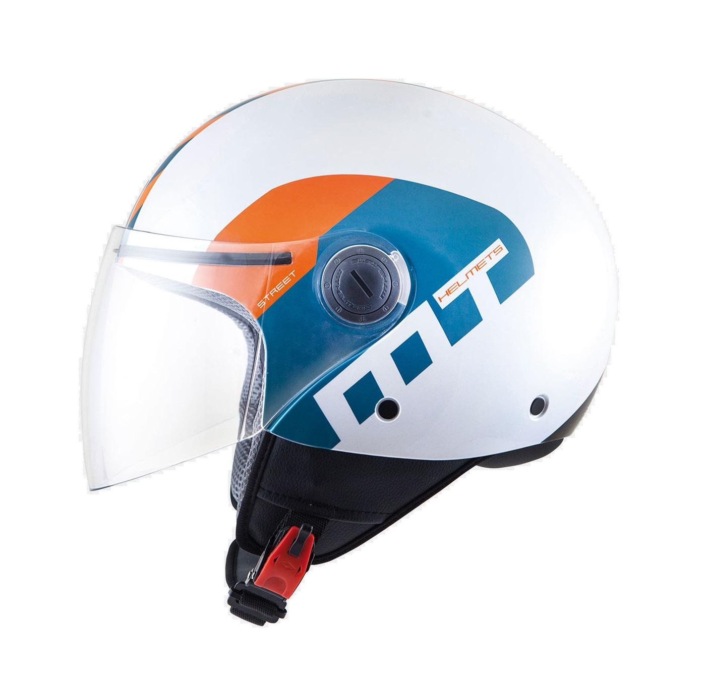 Alb/albastru/portocaliu lucios