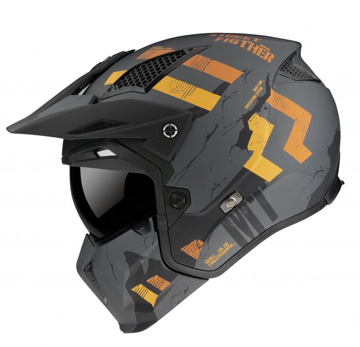 Casca MT Streetfighter SV Skull2020 A12 gri mat – masca (protectie) barbie si cozoroc detasabile [0]