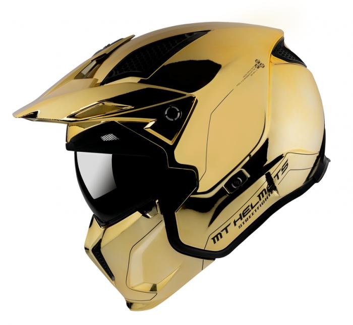 Casca MT Streetfighter SV A9 auriu cromat lucios – masca (protectie) barbie si cozoroc detasabile – editie speciala [0]