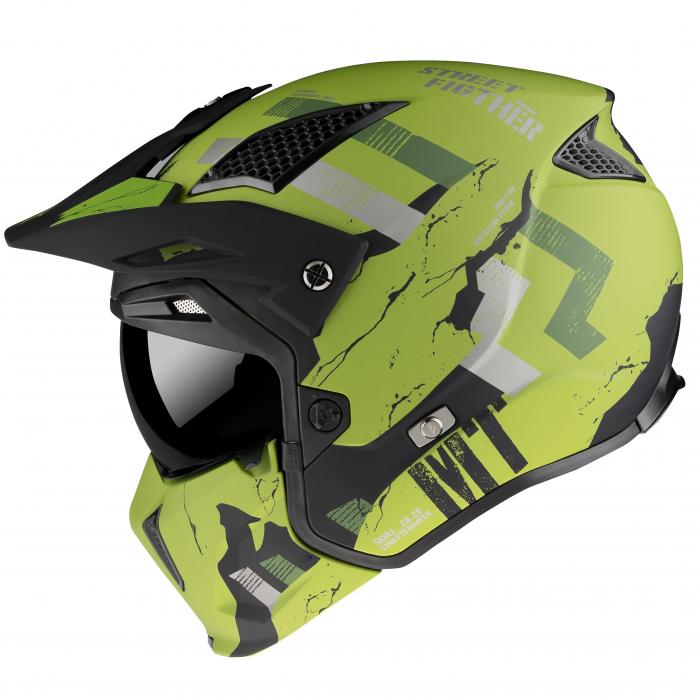 Casca MT Streetfighter SV Skull2020 A16 verde mat – masca (protectie) barbie si cozoroc detasabile [0]