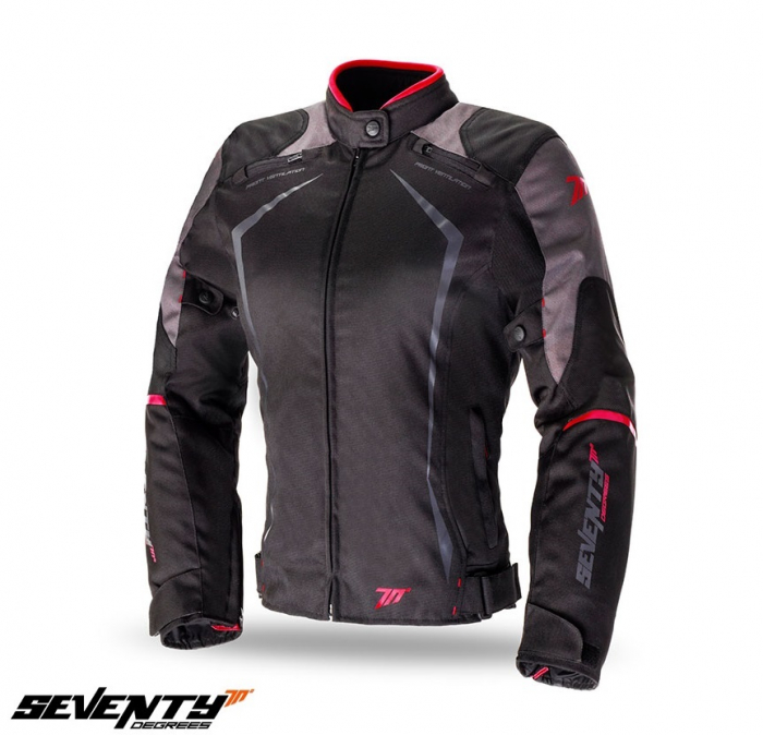 Geaca (jacheta) motociclete femei model Racing Seventy SD-JR49 culoare: negru/rosu [0]