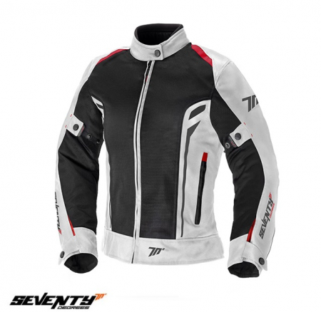 Geaca (jacheta) motociclete femei model Touring Seventy SD-JT36 culoare: alb/rosu [0]