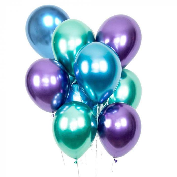 Buchet Baloane chrome cu heliu 9 buc/set 0