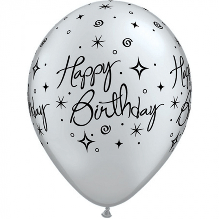 "Baloane latex 11"" inscriptionate Birthday Elegant Sparkles & Swirls Asortate,  DB25235 0"