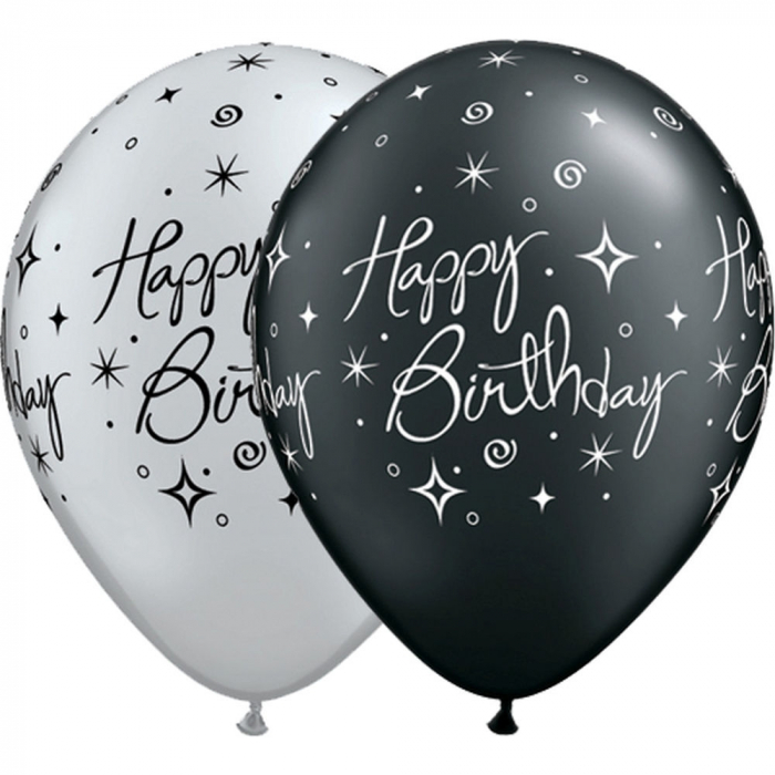 "Baloane latex 11"" inscriptionate Birthday Elegant Sparkles & Swirls Asortate,  DB25235 1"