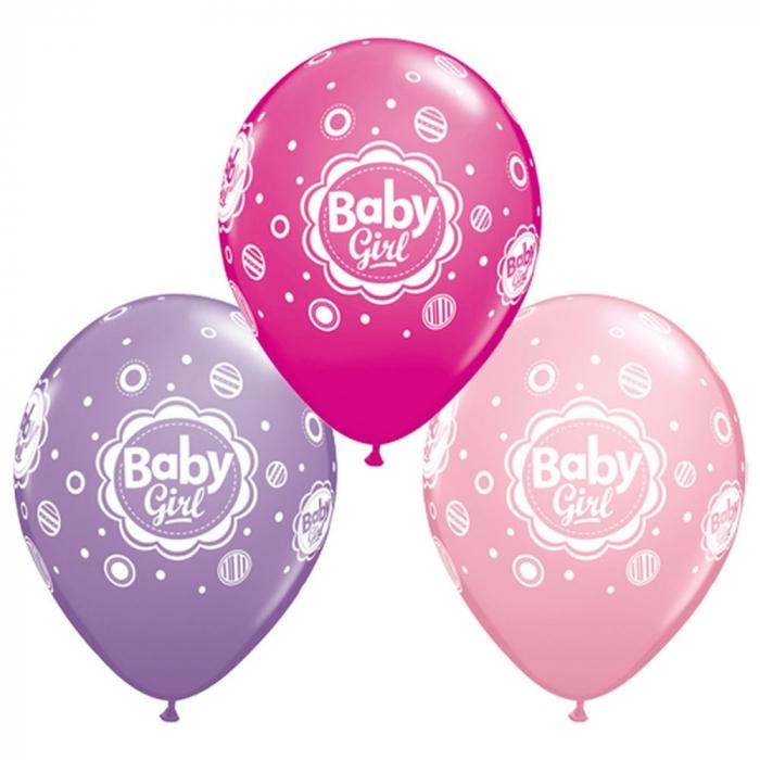 Baloane latex 28cm baby girl dots DB18507 0