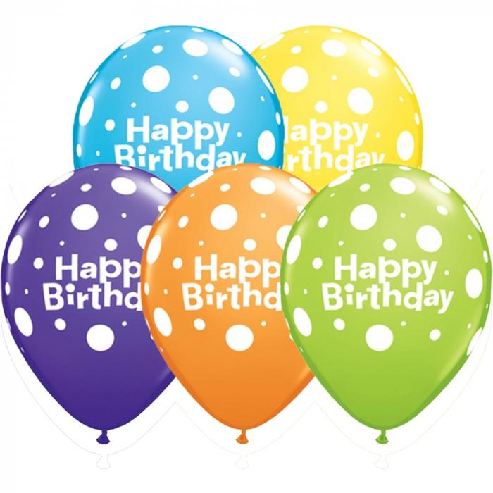 Baloane Latex Personalizate Happy Birthday Big Polka Dots 1 buc 30 cm DB96899 0