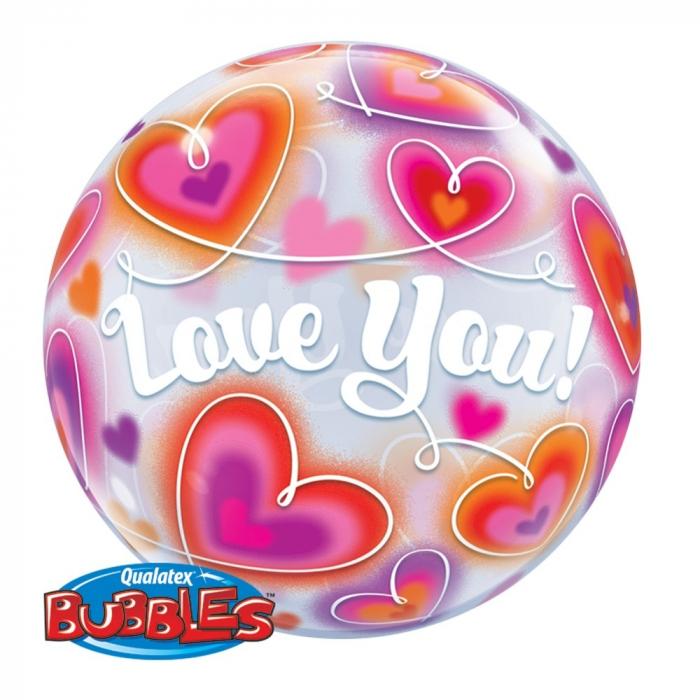 Balon Bubble 56cm Love You cu Inimioare DB34072 0