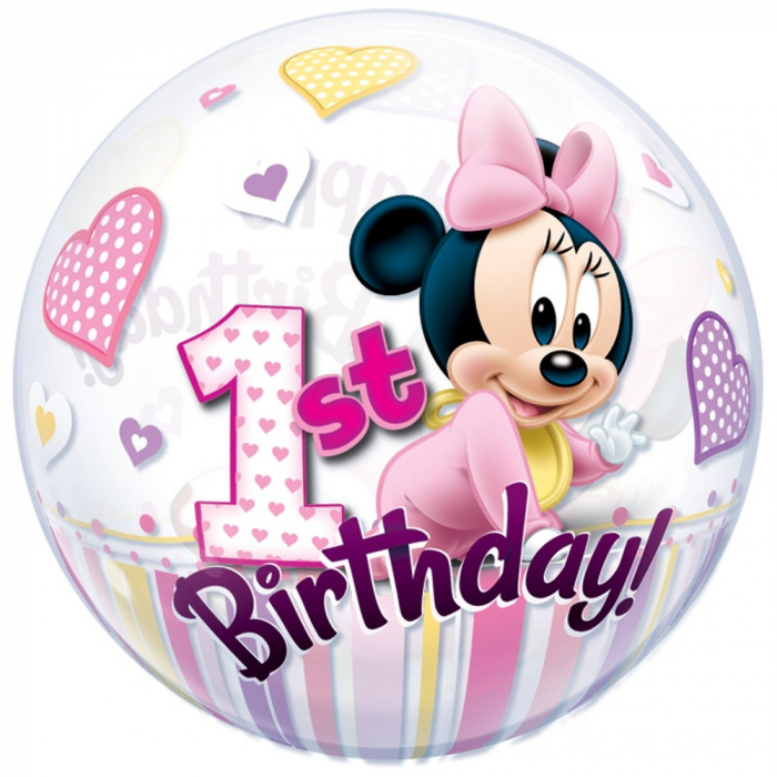 Balon bubble minnie mouse 1st birthday 56cm DB12862 1