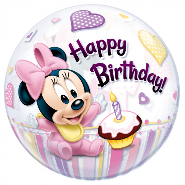 Balon bubble minnie mouse 1st birthday 56cm DB12862 0