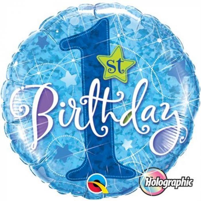 Balon Folie 1st Birthday Stars Blue Holographic 45 cm 1 buc DB41592 0