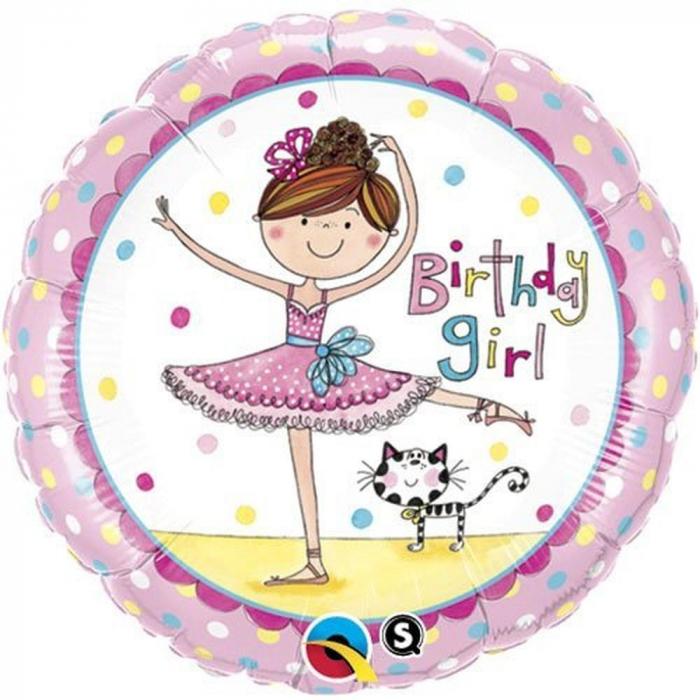 Balon Folie Birthday Girl Ballerina 45 cm 1 buc DB50542 0