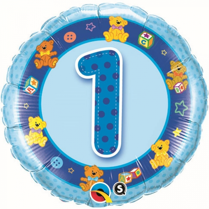 Balon Folie Cifra 1 Albastru Cu Ursuleti 45 cm 1 buc DB26277 0