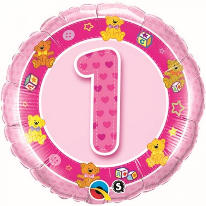 Balon Folie Cifra 1 Roz Cu Ursuleti 45 cm 1 buc DB26281 0
