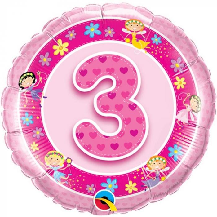 Balon Folie Cifra 3 Roz Cu Zane 45 cm 1 buc DB26297 [0]