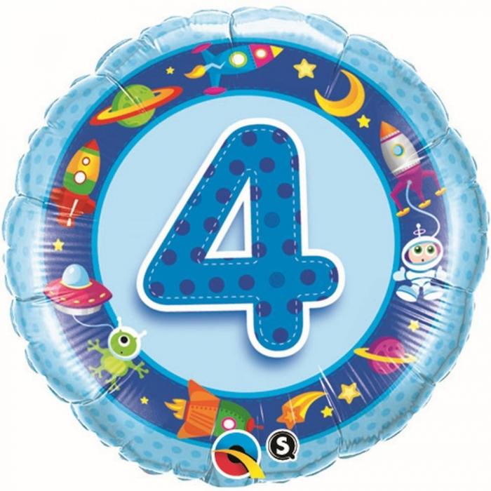Balon Folie Cifra 4 Albastra Cu Extraterestrii 45 cm 1 buc DB26302 0