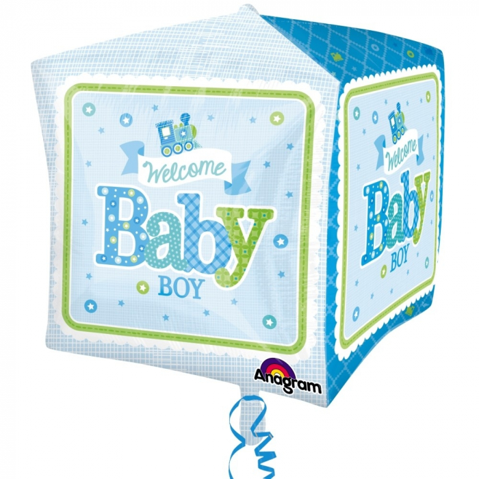Balon Folie Cube Welcome Baby Boy 38x40 cm 1 buc DB3069001 0