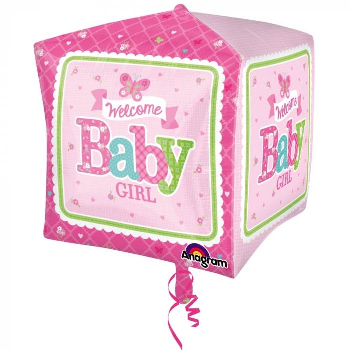Balon Folie Cube Welcome Baby Girl 38x40 cm 1 buc DB3069101 [0]
