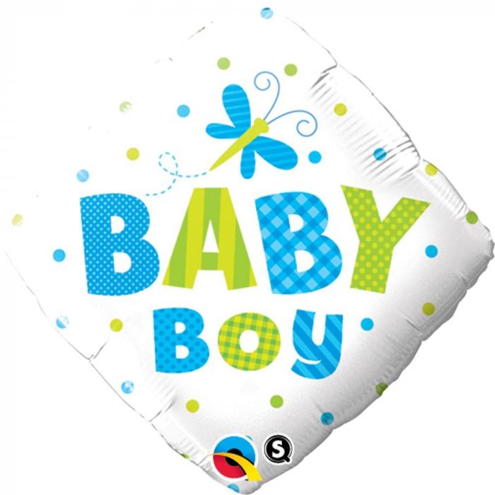 Balon Folie Diamond Baby Boy Dots Dragonfly 45 cm 1 buc DB14666 [0]
