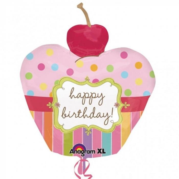 Balon Folie Figurina Birthday Cupcake Pink 91x74 cm 1 buc DB24474 0