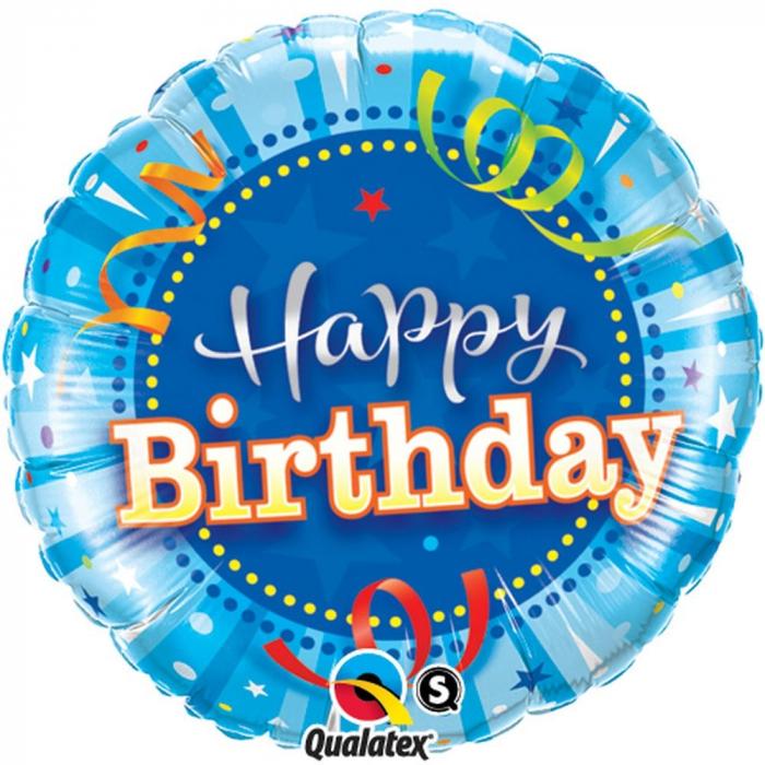 Balon Folie Happy Birthday Bleu 45 cm 1 buc DB25431 0