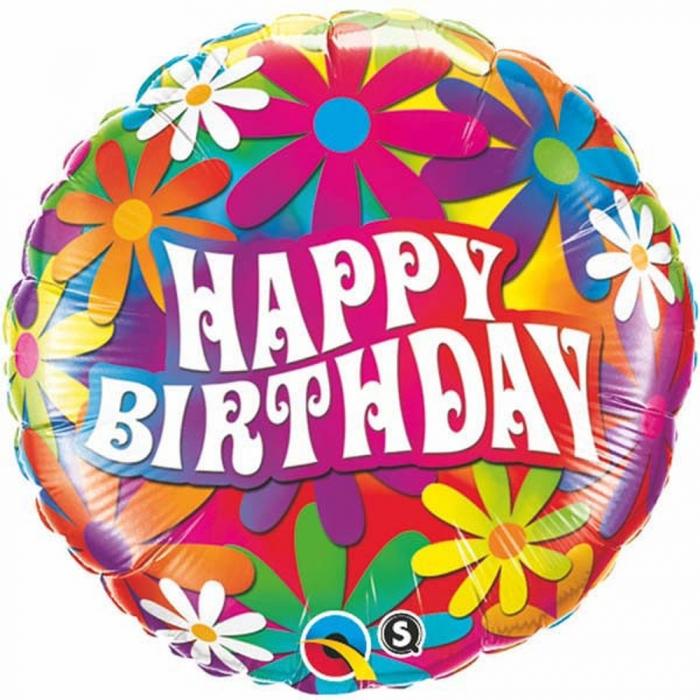 Balon Folie Happy Birthday Cu Margarete 45 cm 1 buc DB29568 0